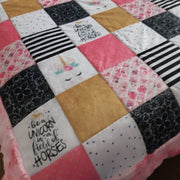 READY TO SHIP - Minky Block Style Blanket - Designer Be a Unicorn -  Large Twin