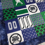 READY TO SHIP - Designer Minky Blanket - Hockey Keep Your Stick on the Ice Blue/Green - Baby
