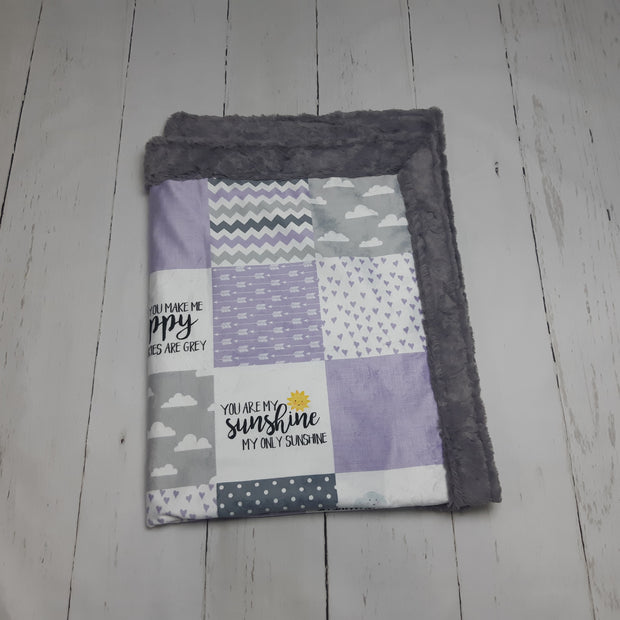 READY TO SHIP - Designer Minky Blanket - You are my sunshine - Purple  - Crib Size