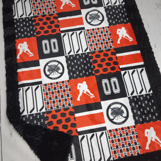 READY TO SHIP - Designer Minky Blanket - Hockey Keep Your Stick on the Ice Red/Black  - Crib Size