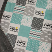 Designer Minky Blanket - You Are My Sunshine - Aqua