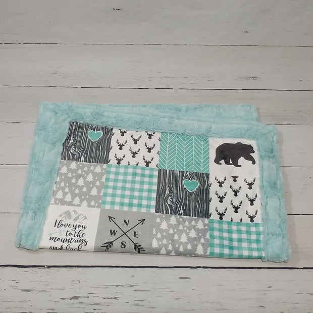 Designer Minky Blanket - Love you To The Mountains - Mint