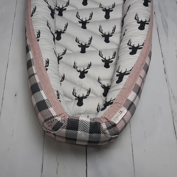 READY TO SHIP - Small Sleep Nest - Buck & Pink Plaid