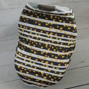 Stretchy Car Seat Cover Designer - Gold Heart Stripe