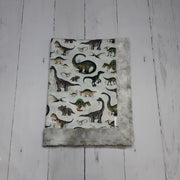 READY TO SHIP - Designer Minky Blanket - Dino Earth Tones  - Baby