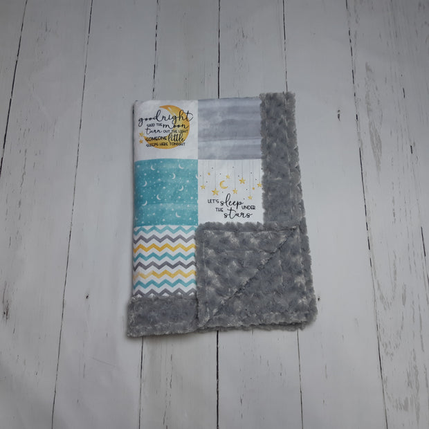 Designer Minky Blanket - Goodnight Said the moon - Turquoise