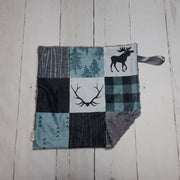 READY TO SHIP - Designer Minky Taggie - Rustic Adventure Awaits