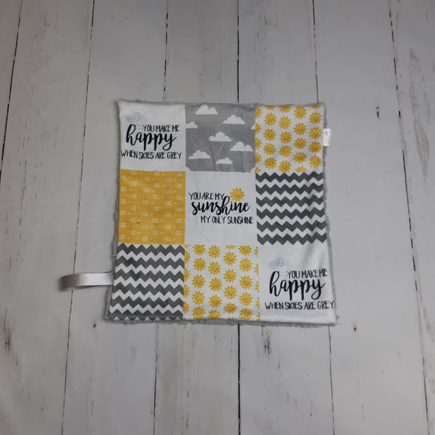 READY TO SHIP - Designer Minky Taggie - You are my Sunshine - Yellow