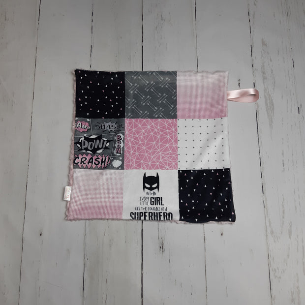 READY TO SHIP - Designer Minky Taggie - Super Hero - Pink