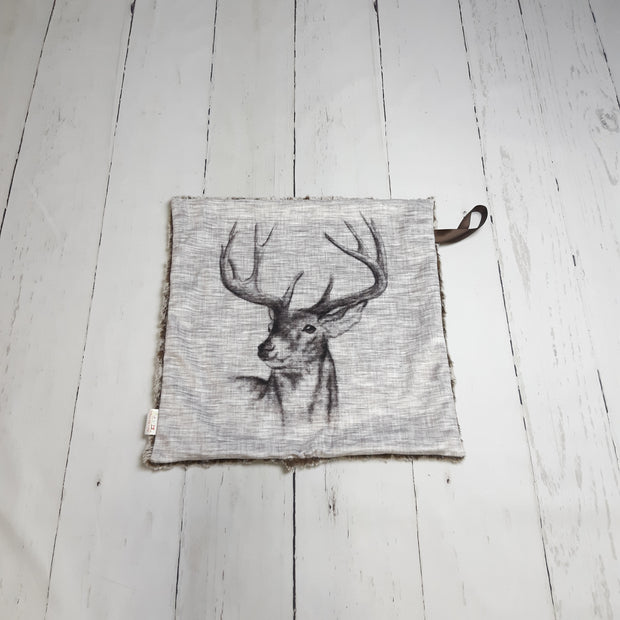 READY TO SHIP - Designer Minky Taggie - Rustic Buck