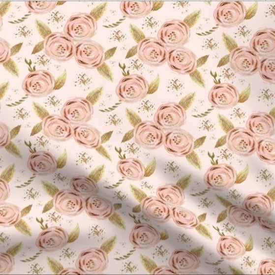 QUICK TURNAROUND - Designer Minky Blanket - Romantic Blush Floral Roses  - Baby Size
