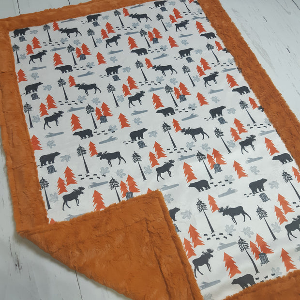 Designer Minky Blanket -  Outdoors Adventure Burnt Orange