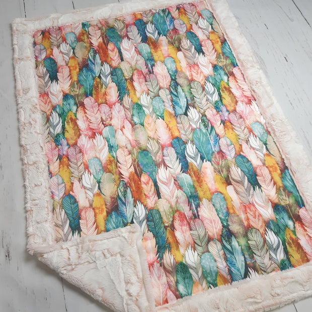 Designer Minky Blanket -  Watercolor Feathers