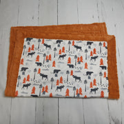 READY TO SHIP  - Designer Minky Blanket - Outdoors Adventure Burnt Orange   - Baby