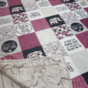 READY TO SHIP - Designer Minky Blanket - Mom Life//Coffee//Merlot  - Throw Size