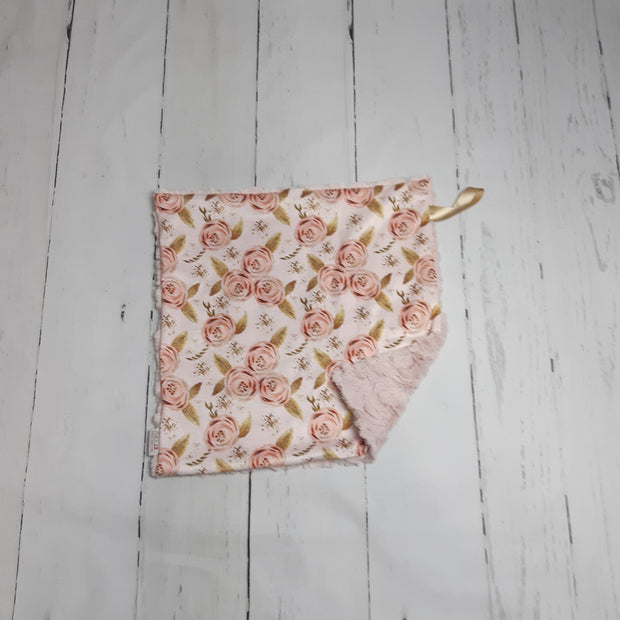READY TO SHIP - Designer Minky Taggie - Romantic Blush Floral Roses