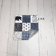 READY TO SHIP - Designer Minky Taggie - Love You to the Mountains Navy