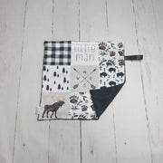 READY TO SHIP - Designer Minky Taggie - Rustic Little Man