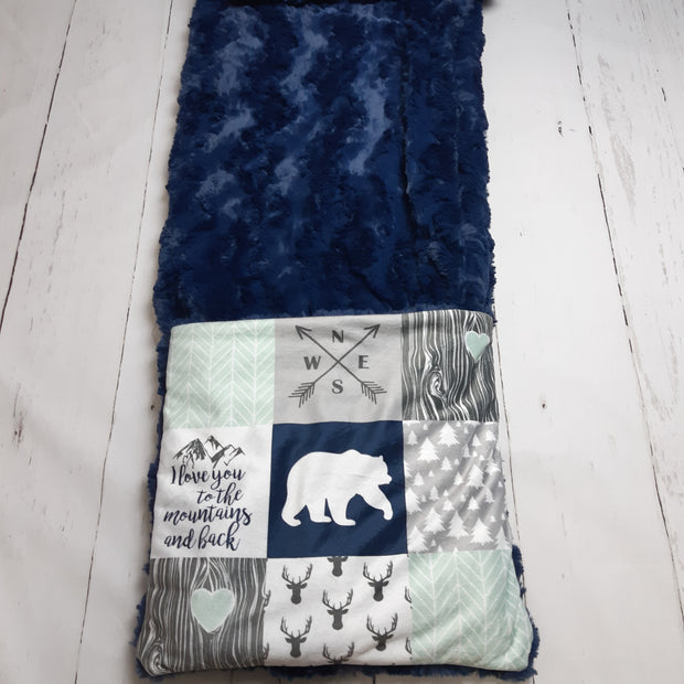 READY TO SHIP - Planket Adult Size - Love you to the Mountains - Navy and Mint/Navy Glacier