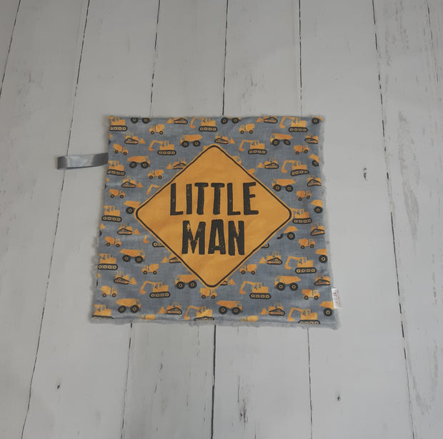 READY TO SHIP - Designer Minky Taggie - Littleman Construction