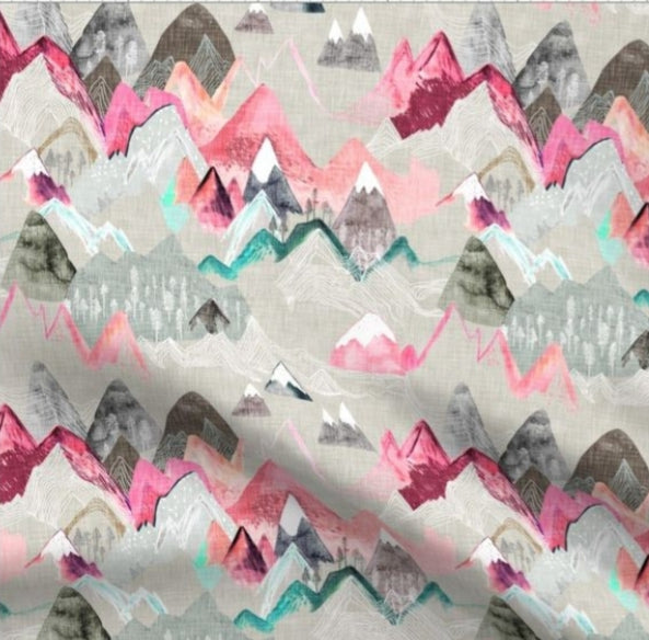 Designer Minky Blanket - Call of the Mountains - Pink