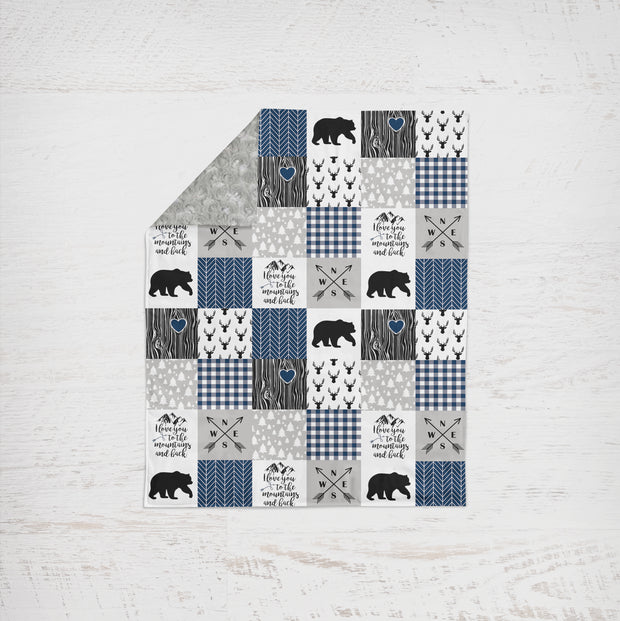 Designer Minky Blanket - Love you To The Mountains - Navy