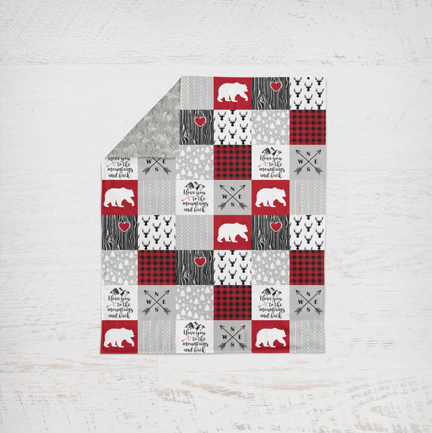 Designer Minky Blanket - Love you to the Mountains - Red