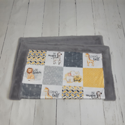 READY TO SHIP - Designer Minky Blanket - Safari//Yellow - Baby