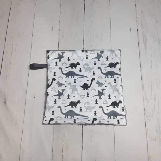 READY TO SHIP - Designer Minky Taggie - Black and Grey Dinos