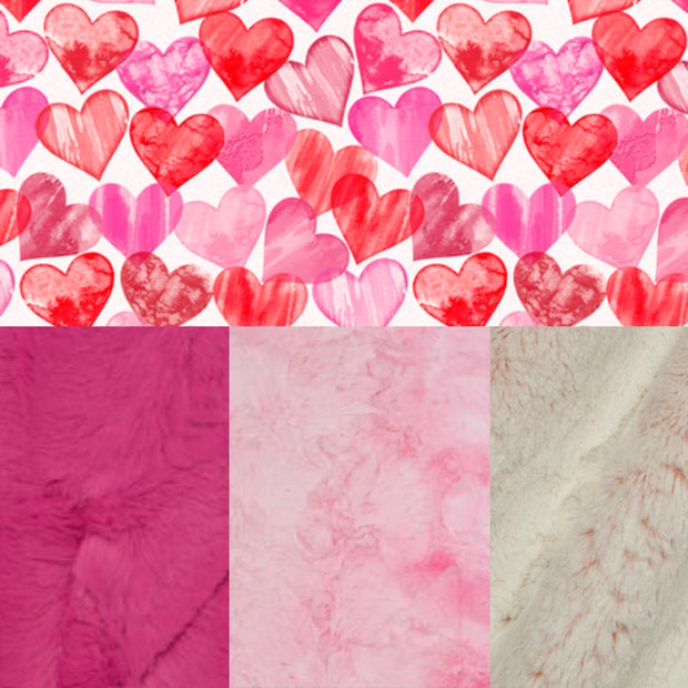 Designer Minky Blanket - Painted Hearts