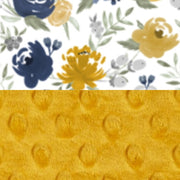 "Zip Up Car Seat Cover/Stroller Cover - Twill Navy & Mustard"" Watercolor Floral/Minky Mustard Dot"