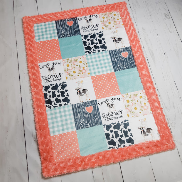 Designer Minky Blanket - Love You Till the Cows Come Home - Coral and Mint