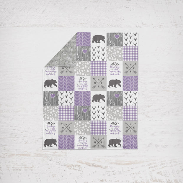 Designer Minky Blanket - Love you To The Mountains - Purple
