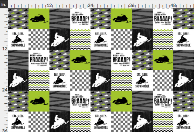 Designer Minky Fabric - Eat Sleep Snowmobile//Lime - Wholecloth Cheater Quilt - 1/2 Yard