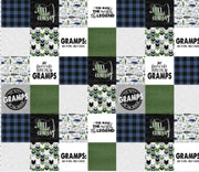 Designer Minky Blanket -  Gramps  - Fishing - Green and Blue