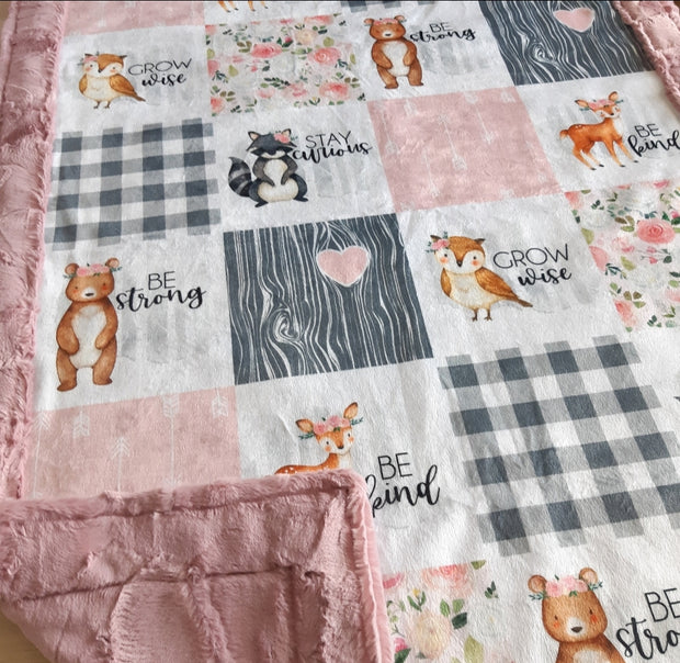 READY TO SHIP - Designer Minky Blanket - Woodland Friends Pink - Baby