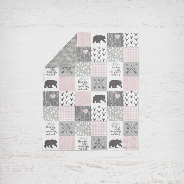 Designer Minky Blanket - Love you to the Mountains - Blush