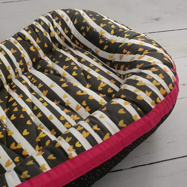 READY TO SHIP - Small Sleep Nest - Gold Heart Stripe