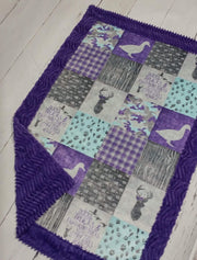 READY TO SHIP - Designer Minky Blanket - Ducks & Trucks - Baby Size
