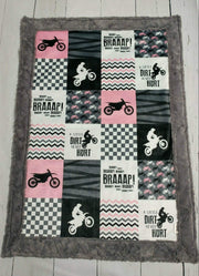 Designer Minky Blanket - Motocross/A little dirt never hurt -pink