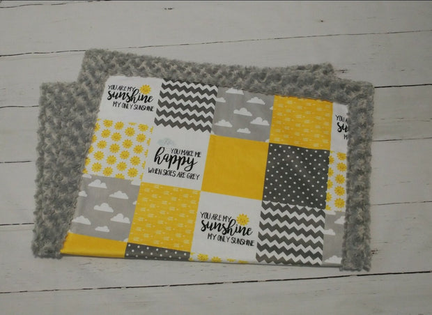 Designer Minky Blanket - You Are My Sunshine - Yellow