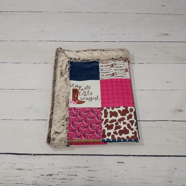 Designer Minky Blanket - Sleep Well Little Cowgirl - Pink