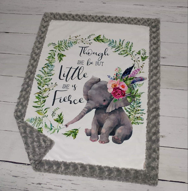 Designer Minky Blanket - Little & Fierce Elephant