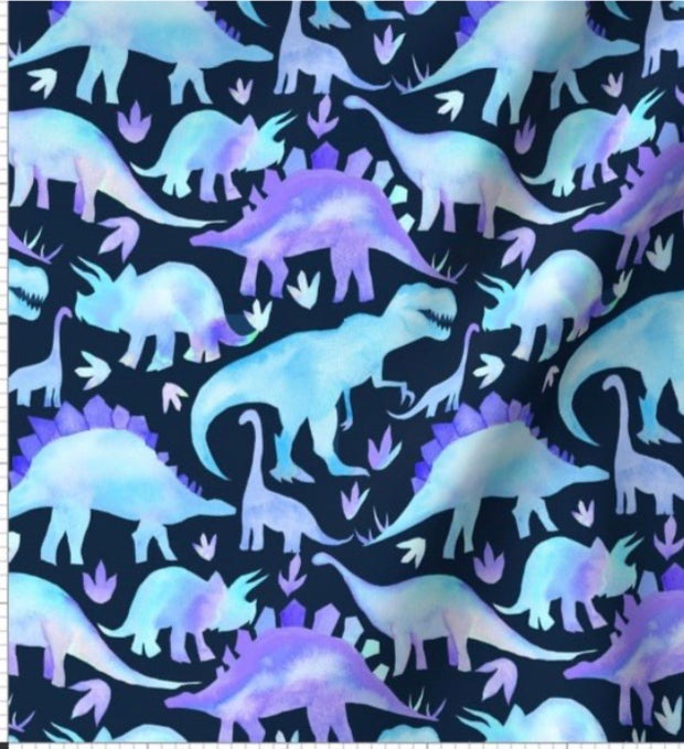 QUICK TURNAROUND - Designer Minky Blanket - Purple Watercolour Dinos - Baby