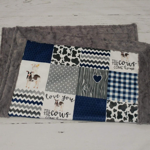 Designer Minky Blanket - Love You Till the Cows Come Home - Navy