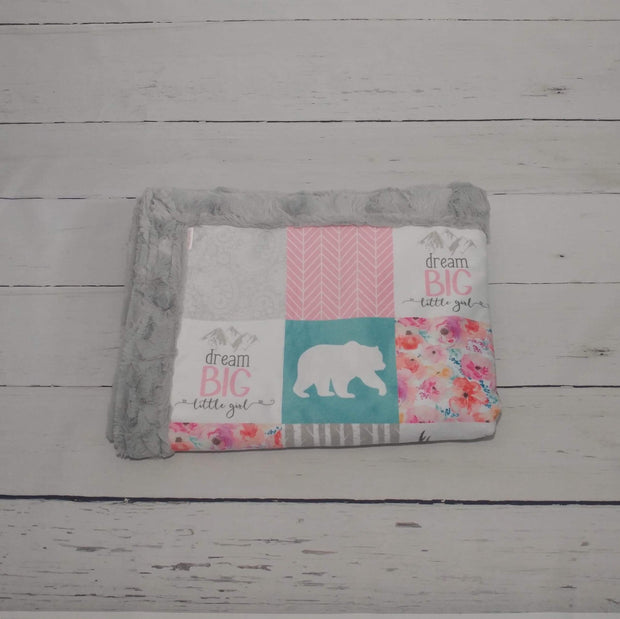 READY TO SHIP - Designer Minky Blanket - Dream Big Little Girl - Child