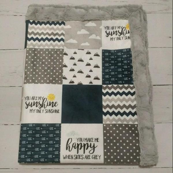 Designer Minky Blanket - You Are My Sunshine - Navy