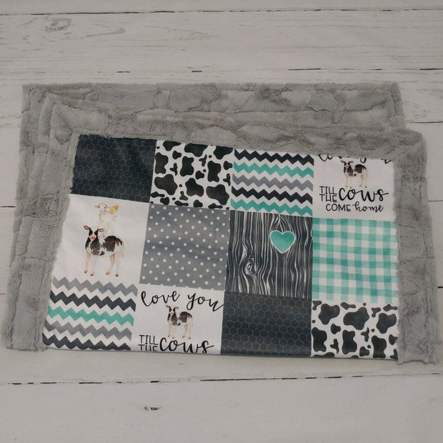 Designer Minky Blanket - Love You Till the Cows Come Home - Mint