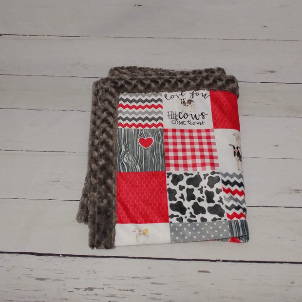 Designer Minky Blanket - Love You Till the Cows Come Home - Red