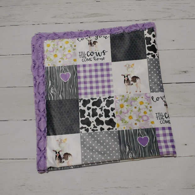 Designer Minky Blanket - Love You Till the Cows Come Home - Purple